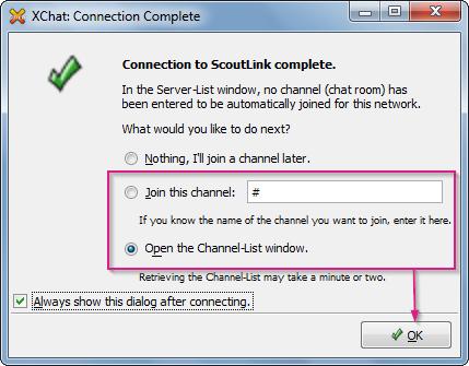 Xchat connected window